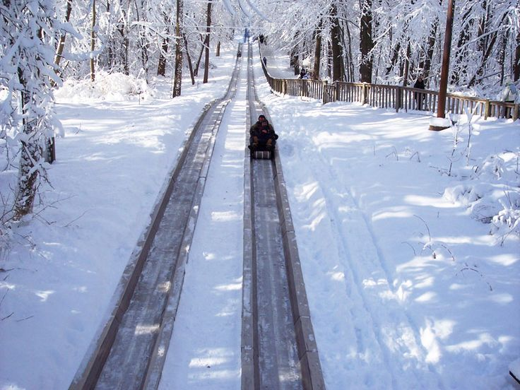 it wasnut this snowy when we rode the historic toboggan in pokagon state park