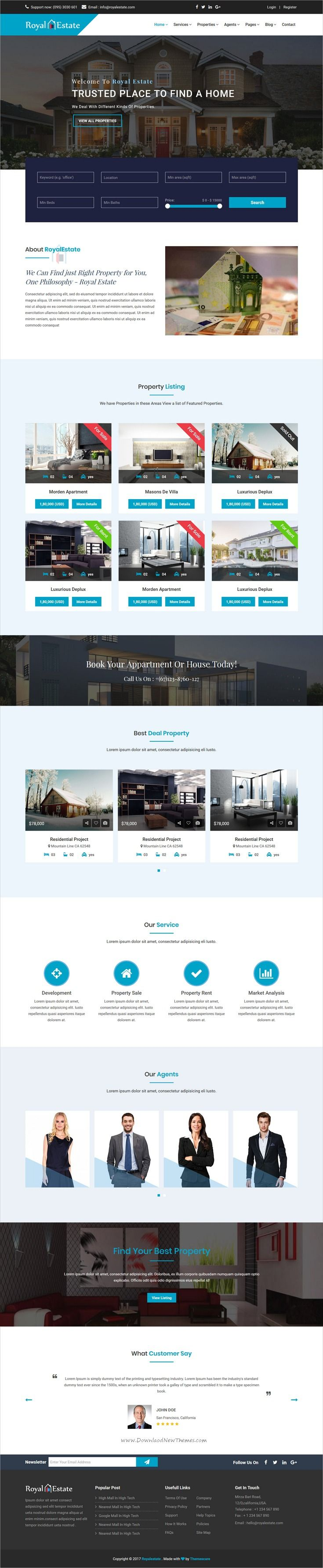 Royal Estate is clean and modern design 2in1 responsive #HTML5 template for #realestate and #property agencies professional website download now..