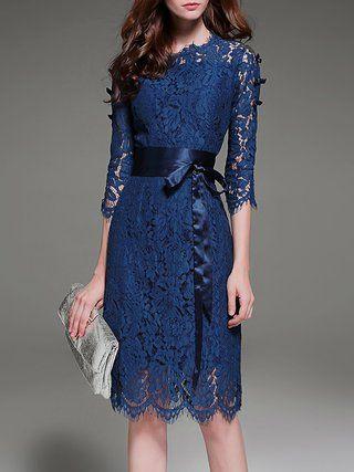 Navy Blue Elegant A-line Lace Crew Neck Midi Dress With Belt