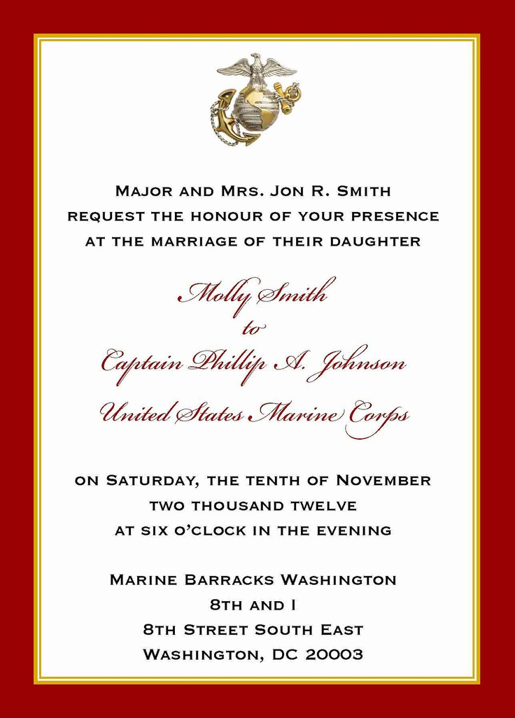 Custom 5x7 Military Wedding Invitation Marine By Starsandstripe 2 00