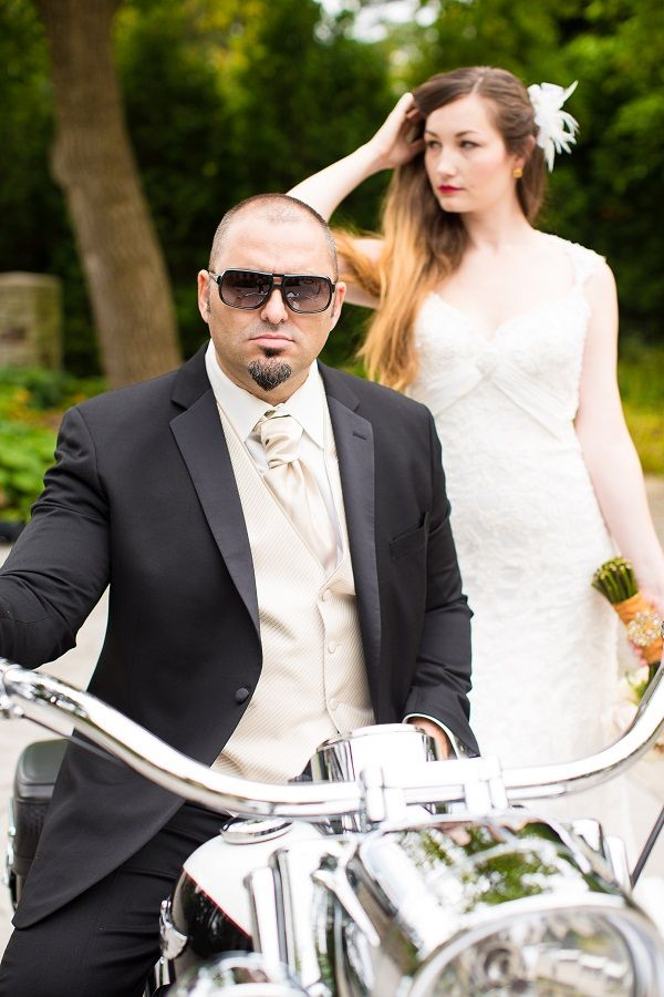 Groom arrives via Harley Davidson motorcycle. Models: Alex & Aliona   Photo: www.Avenue-Photo.com Wedding Planner: www.TraceyMevents.ca