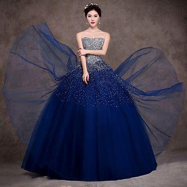 Vestido - Azul Marinho Escuro Festa Formal Baile Sem Alça Longo Cetim/Tule/Cetim Esticado – BRL R$ 952,46