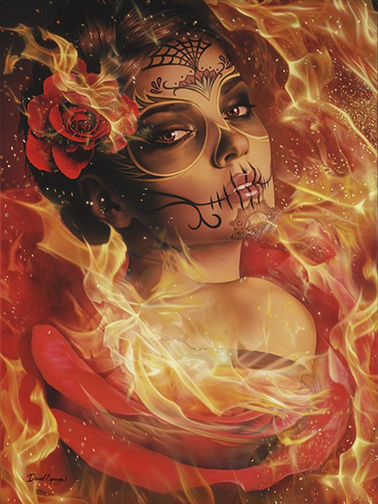 Burning Desire by Daniel Esparza Sugar Skull Woman Canvas Art Print – moodswingsonthenet