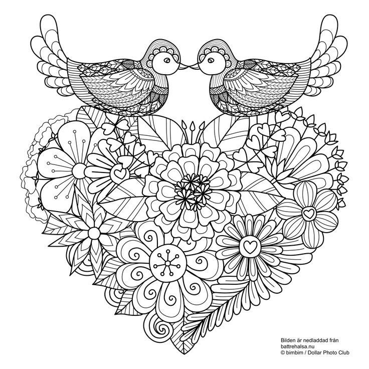 Gratis målarbild för vuxna – här kommer turturduvor och kärlek inför Alla hjärtans dag!
