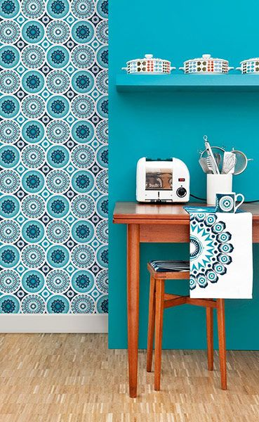 Funky wallpaper and turquoise wall - love it! Wallpaper from minimoderns.com