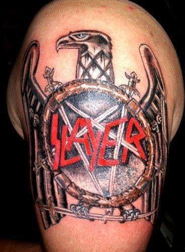 SLAYER tattoo.