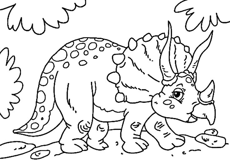 Cute Little Triceratops Dinosaur Coloring Pages For Kids