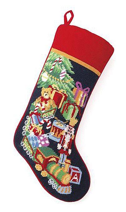 """Holiday Toy Trains Christmas Needlepoint Stocking - 11"""" x 18"""""""