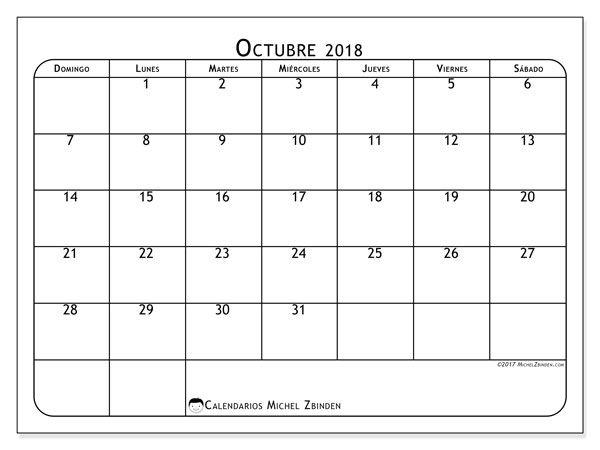 Calendario octubre 2018 (51DS) | calendario | Pinterest | Calendar ...