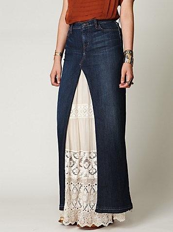 Chloe Denim Maxi Slit Skirt