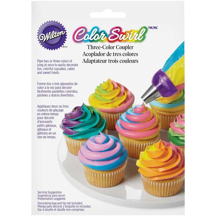 The Color Swirl 3-Color Coupler seamlessly blends 2-3 color icings as you pipe. Choose from double swirl or triple swirl colors. The interlocking coupler pieces connect multiple decorating bags, allowing you to swirl 2 or 3 colors together with one simple piping motion.