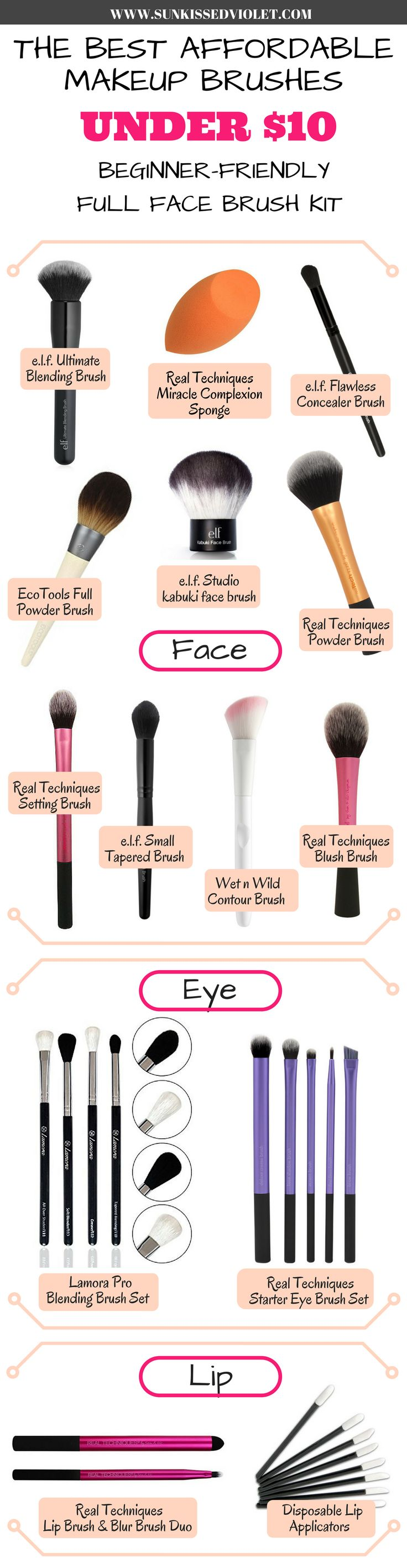 I have picked out my absolute favorite affordable makeup brushes for a full-face makeup. These brushes are all under $10 each, perfect for someone on a budget or a makeup newbie who wants to build up a starter kit. Real Techniques Wet n Wild E.L.F. Ecotools #makeupbrushes