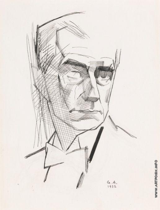 Анненков Ю. П. Портрет Мориса Равеля, 1932 г.