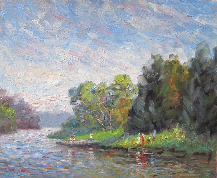 Jells Park Lake, Victoria, Australia Original Impressionist Oil Painting by Enoch Hlisic