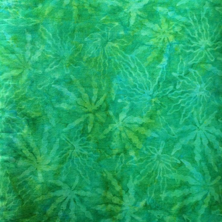 Tropical green jungle batik fabric by the yard, fat quarter
