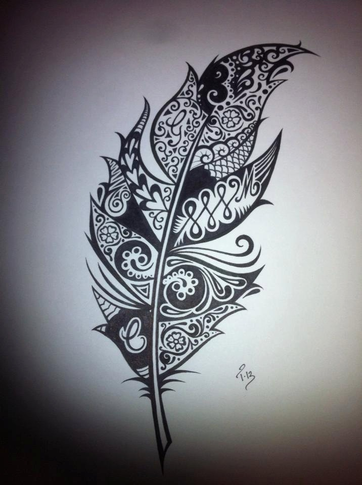 ... Black White, Ink Drawings, Drawing Black, Feathers Tattoo, Feather: https://www.pinterest.com/pin/195906652515200972