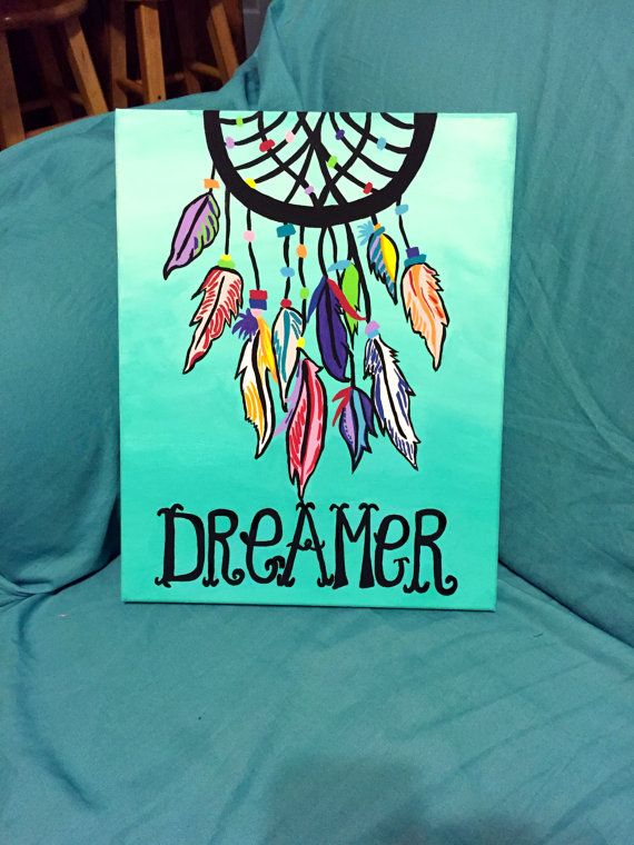 """Dreamer"" Dreamcatcher canvas painting  Check out this adorable Etsy shop, Words of Bliss! Custom creations are available!"