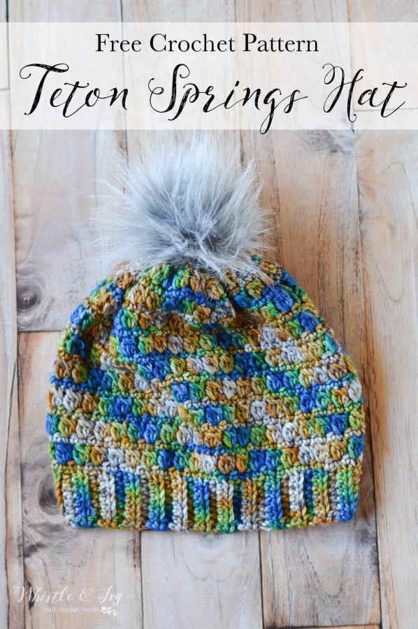 Free Crochet Pattern - Teton Springs Hat | This gorgeous crochet hat has a cozy, lovely texture and works up beautiful variegated yarn.