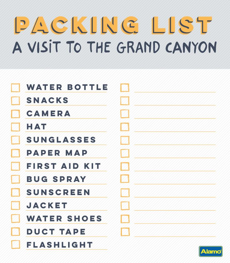 From ticks to unexpected water crossings, a Grand Canyon vacation can throw a lot at you. Be prepared for your trip with this packing checklist. Click through to see the video and get the printable list.