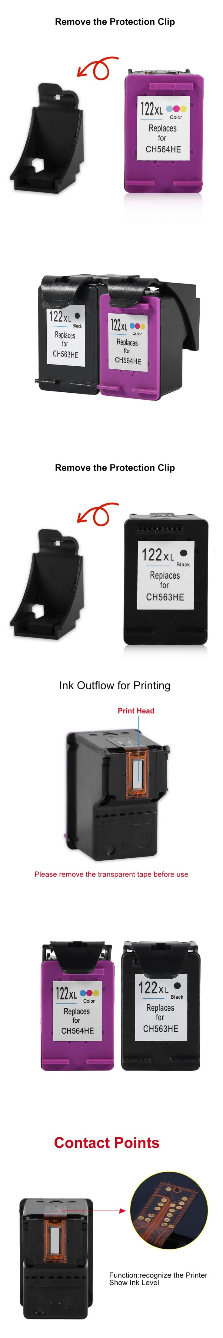 2Pcs For HP Cartridge 122 for HP 122 XL 122XL Ink Cartridge for HP Deskjet 1000