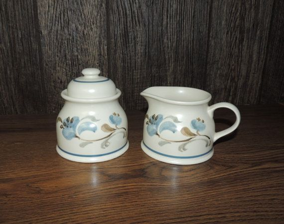 Vintage Stoneware Sugar Bowl and Creamer Set by OanaVintageCorner