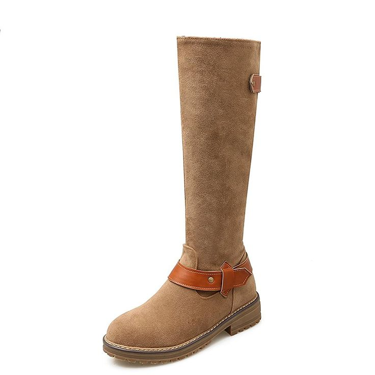 AIWEIYi Womens Closed toe Flat Knee High Boots Belt Bukles Warm Thigh High Boots *** Find out more about the great product at the image link.