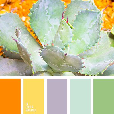 Pastel lavender, blue and mint shades look expressive, thanks to the combination with natural orange. The color scheme is suitable for processing light conditions bedroom or living room. Soft colors will give the room space, a painting or a vase of bright contrasting colors create the desired accent.