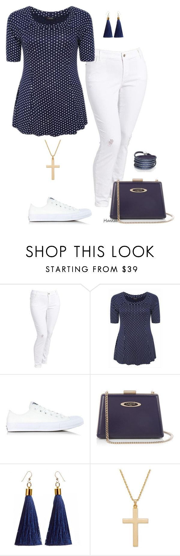 """Hannah's set- plus size"" by gchamama ❤ liked on Polyvore featuring Old Navy, Converse, Lanvin and Sif Jakobs Jewellery"