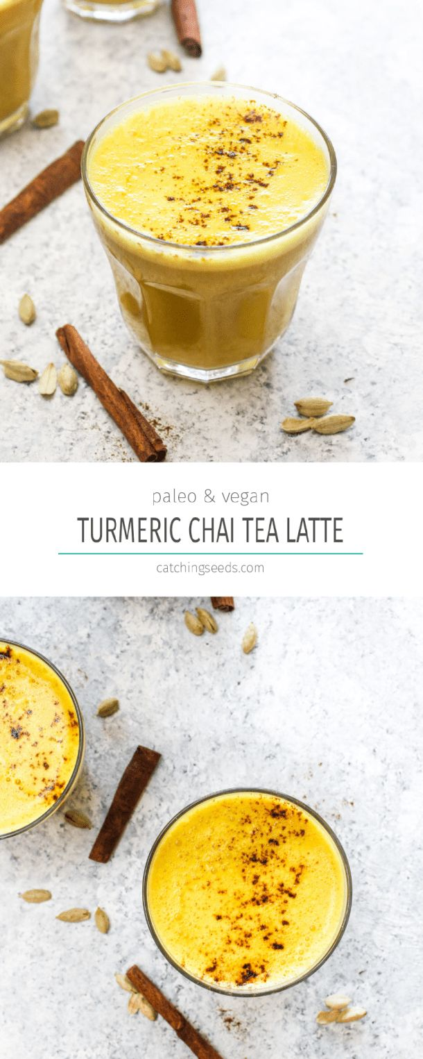 ThisTurmeric Chai Tea Latte is an easy and nourishing morning beverage! It has a boost of caffeine from black tea, a creamy sweetness, health enhancing turmeric, and a perfectly balanced spice mix. It is vegan, paleo, dairy free, coffee free, and gluten free recipe! | CatchingSeeds.com