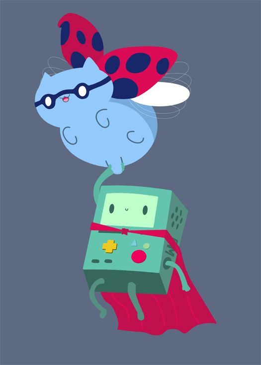 Catbug and Beemo by ~pronouncedyou on deviantART
