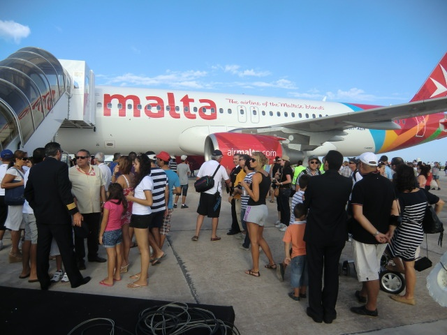 Crowds gathered around the Air Malta A320 at the Malta International Airshow to get their first close-up look at the brand new livery
