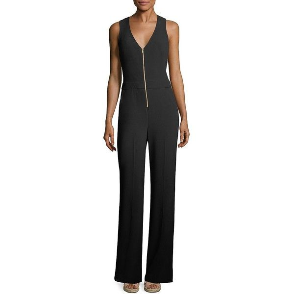 Trina Turk Tamayo 2 Zip-Front Jumpsuit ($209) ❤ liked on Polyvore featuring jumpsuits, jump suit, cut-out jumpsuits, zip front jumpsuit, trina turk jumpsuit and v neck jumpsuit
