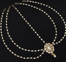 Indian Bollywood White Pearl Gold Tone Matha Patti Hair Accessory Bridal Jewelry