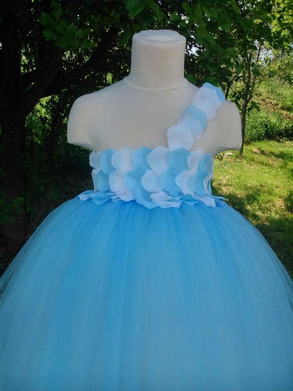 Flower girl tutu dress – wedding tutu dress – birthday tutu dress – white and blue tutu dress – pageant dress – tutu dress