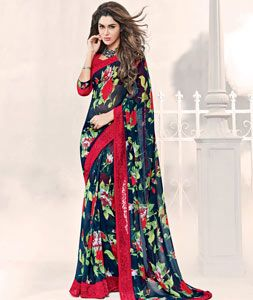 Buy Navy Blue Georgette Printed Saree With Blouse 77705 with blouse online at lowest price from vast collection of sarees at Indianclothstore.com.