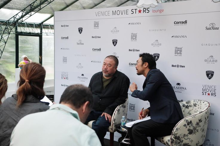 Ai Weiwei in the Venice Movie Stars Lounge on Smania Amal Armchair