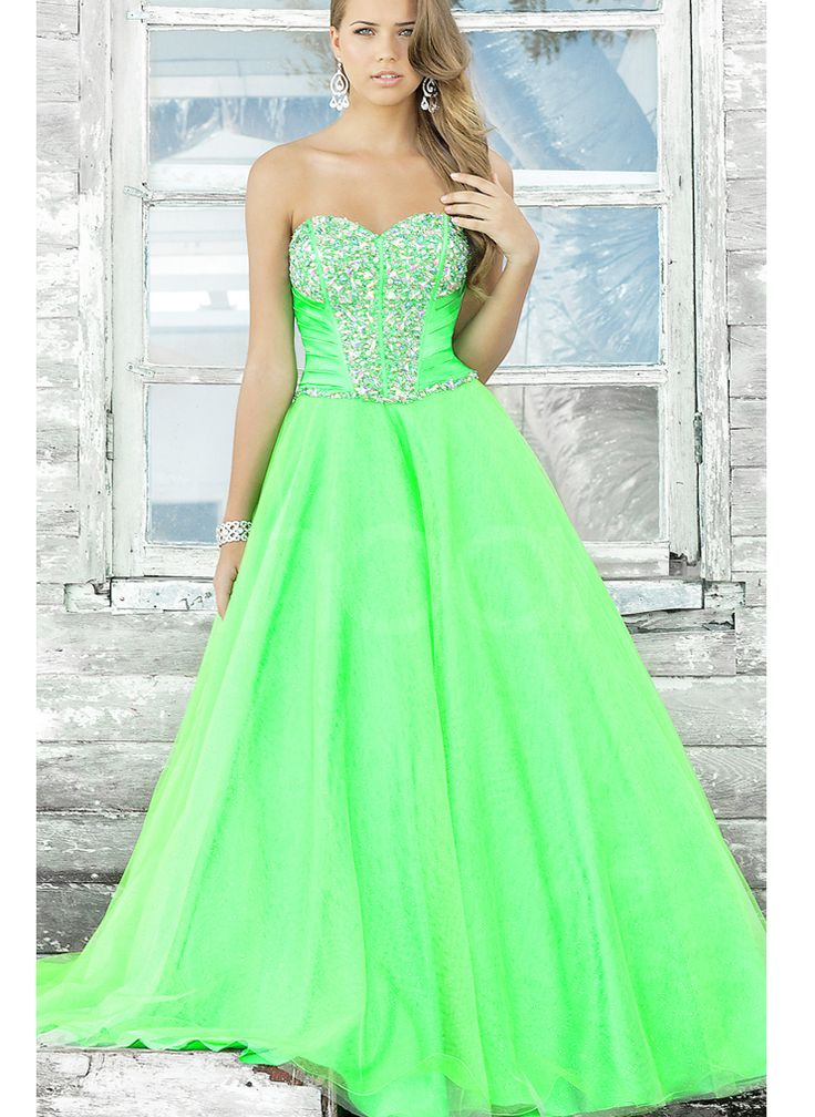 Beautiful Hunter Green Sweetheart Neckline Beadings Ball Gown Tulle Prom  Dress - 27 Best Neon Green Ball Gowns Images On Pinterest Formal Dresses