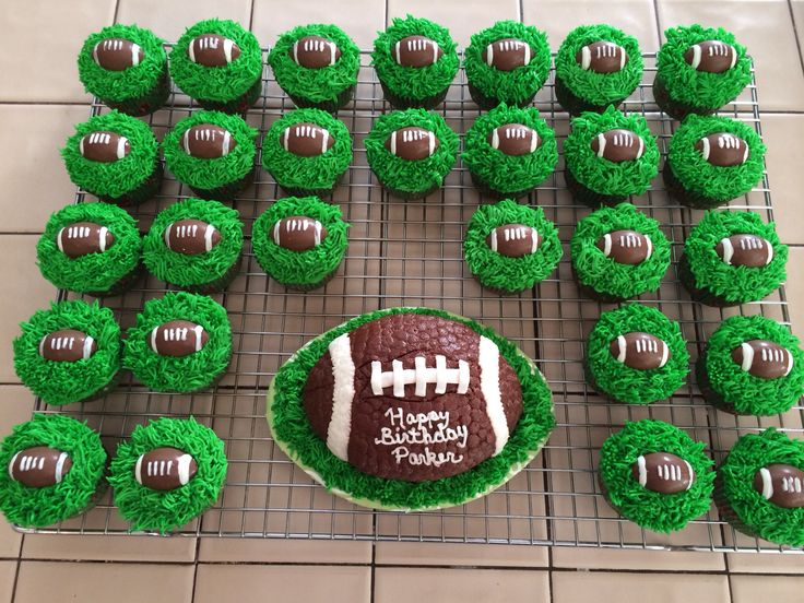 First birthday cupcakes and smash cake for a future football player. :)