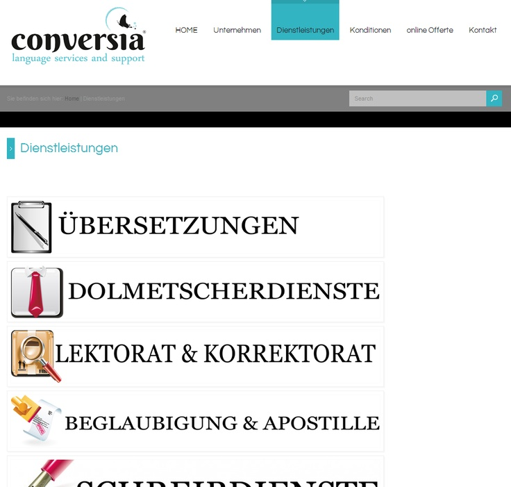 On this page you can see the services from Conversia.