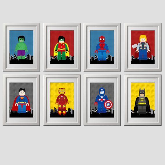 superhero bedroom wall art decor prints, superhero bedroom wall decor, set of 8 (8x10) inch high quality prints shipped to your door prints