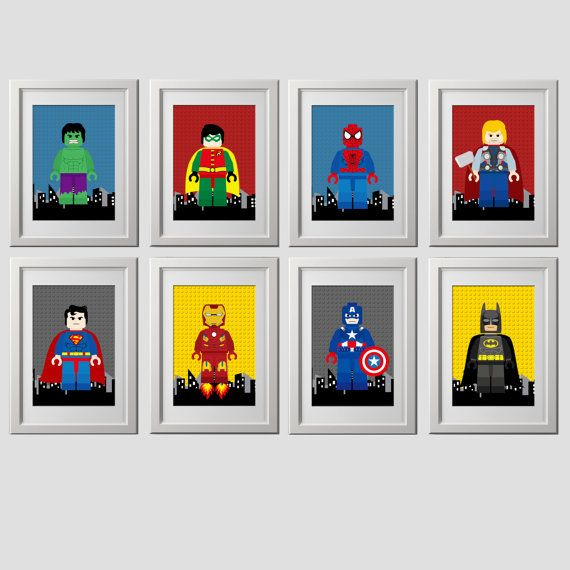 superhero bedroom wall art decor prints, superhero bedroom wall decor, set of 8 (8x10) inch high quality prints shipped to your door prints
