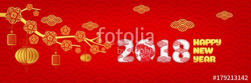 Download the royalty-free vector Happy new year 2018Chinese new year greetings