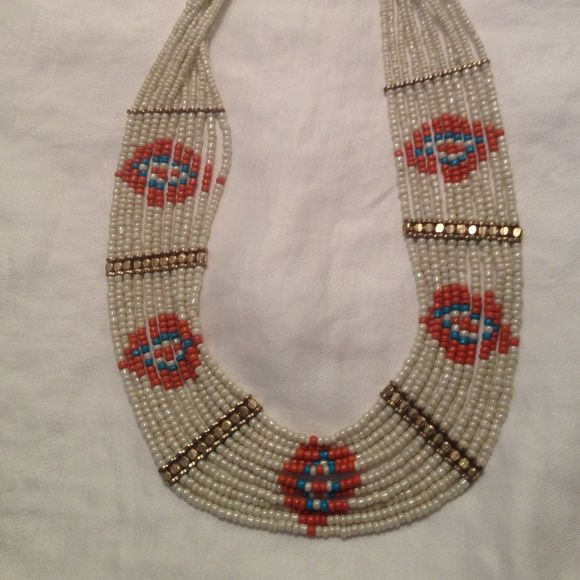 Woman's Necklace Gorgeous Bead Statement Necklace / Aztec Pattern With Gold Accents / Completes An Outfit !!! Jewelry Necklaces
