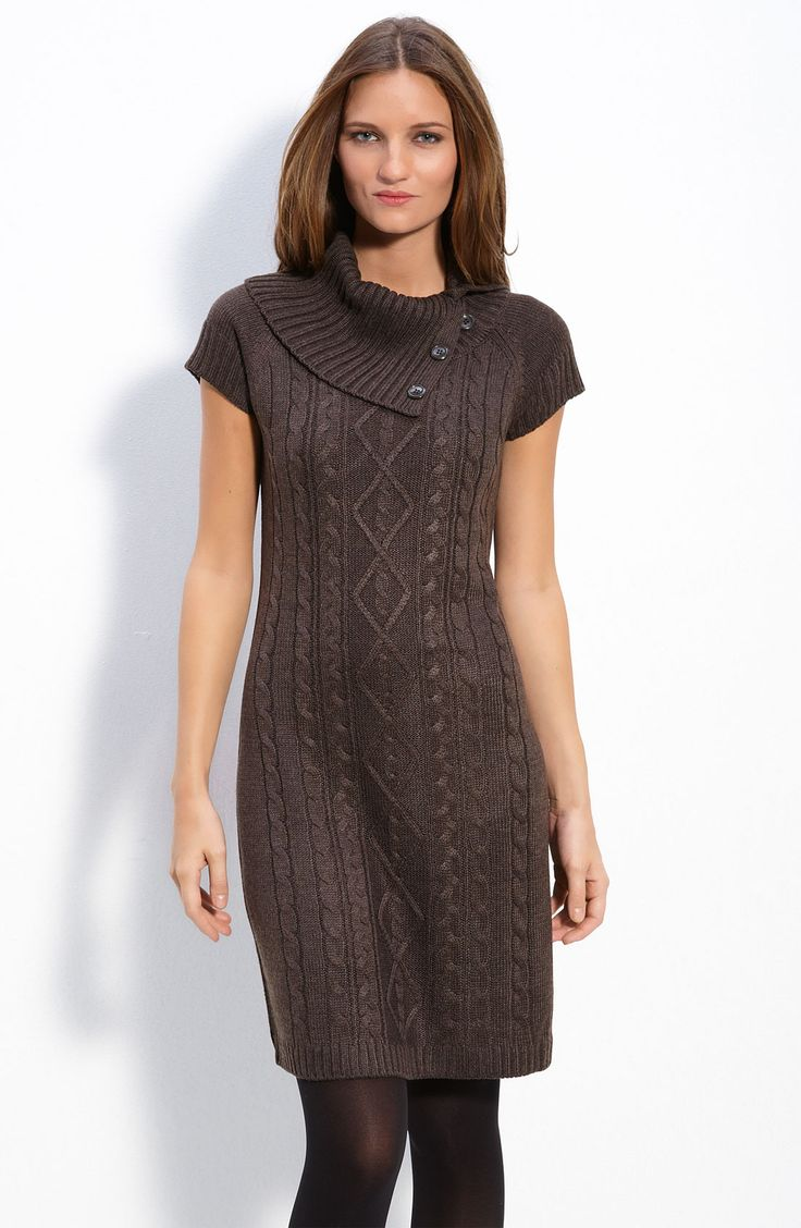Free shipping and returns on Calvin Klein Foldover Collar Sweater Dress at Nordstrom.com. Classic cable stitches define the shapely silhouette of a lightweight sweater dress topped with a softly folded buttoned split collar.