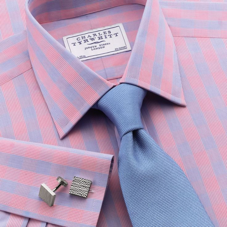 Jermyn St sky and pink check slim fit dress shirt   Slim fit dress shirts from Charles Tyrwhitt   CTShirts.com