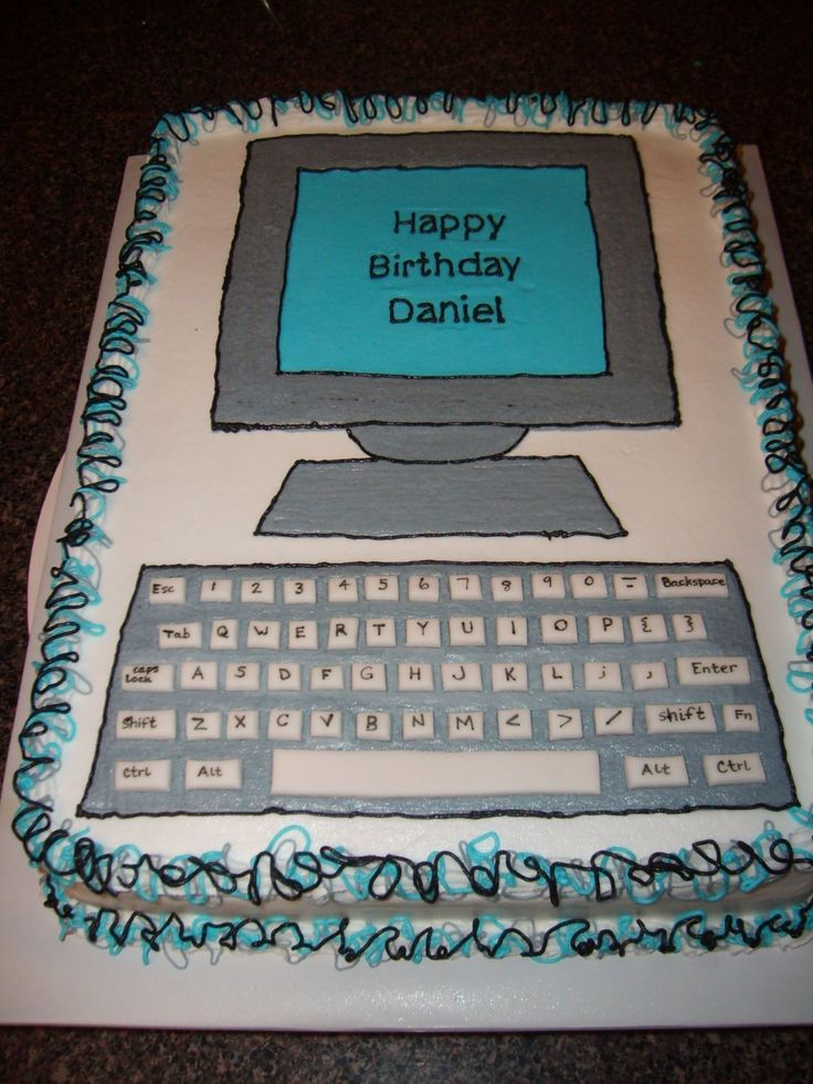 Computer - The cake is all buttercream except for the keys on the keyboard.  They are made of fondant.  I wrote the letter and words on the keys using a foodcoloring marker.