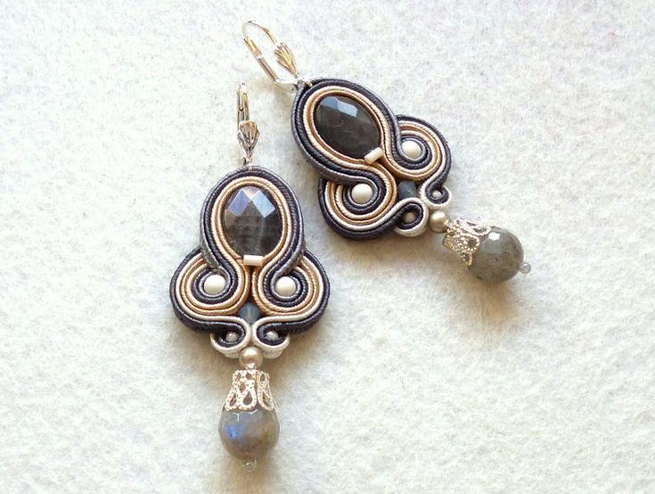 Soutache earrings Gray-Beige Labradorite Glamour! di Soutache4You su DaWanda.com