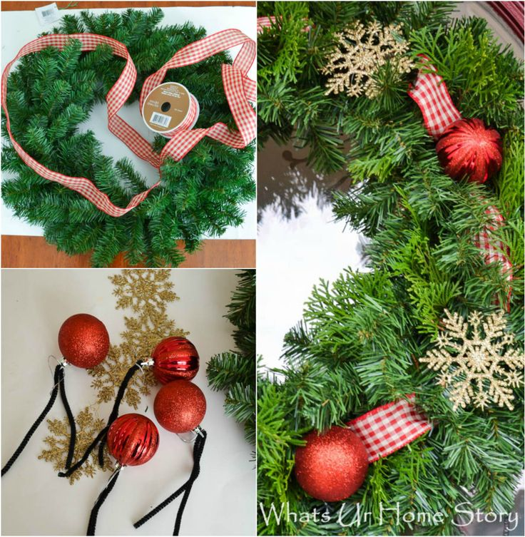 Holiday Wreath Tip - Add fresh greenery from the yard to make a cheap store bought wreath fuller