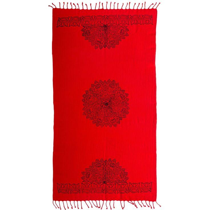 Woodblock Print Peshtemal - Red Flower