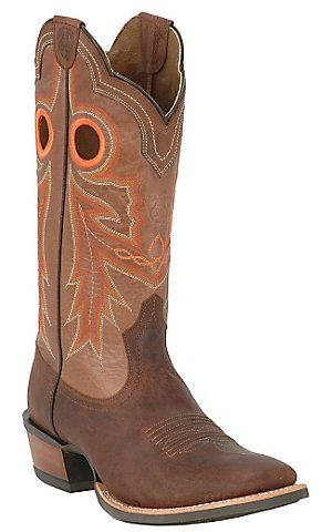 Ariat Wildstock Men's Weathered Brown with Quartz Wide Square Toe Western Boots | Cavender's